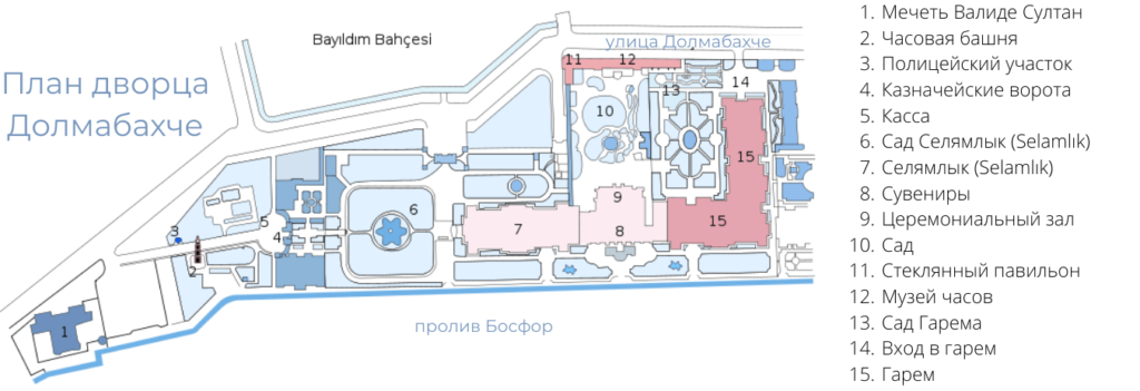 План на русском языке дворца Долмабахче в Стмбуле