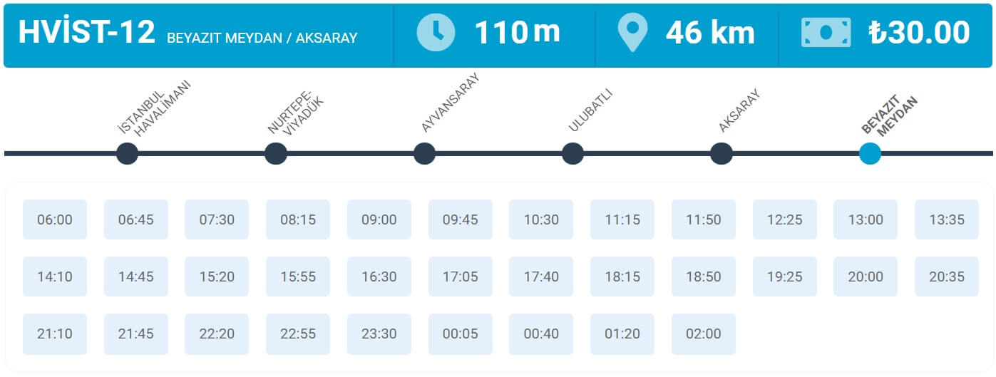 Расписание автобусов из Нового аэропорта Стамбула