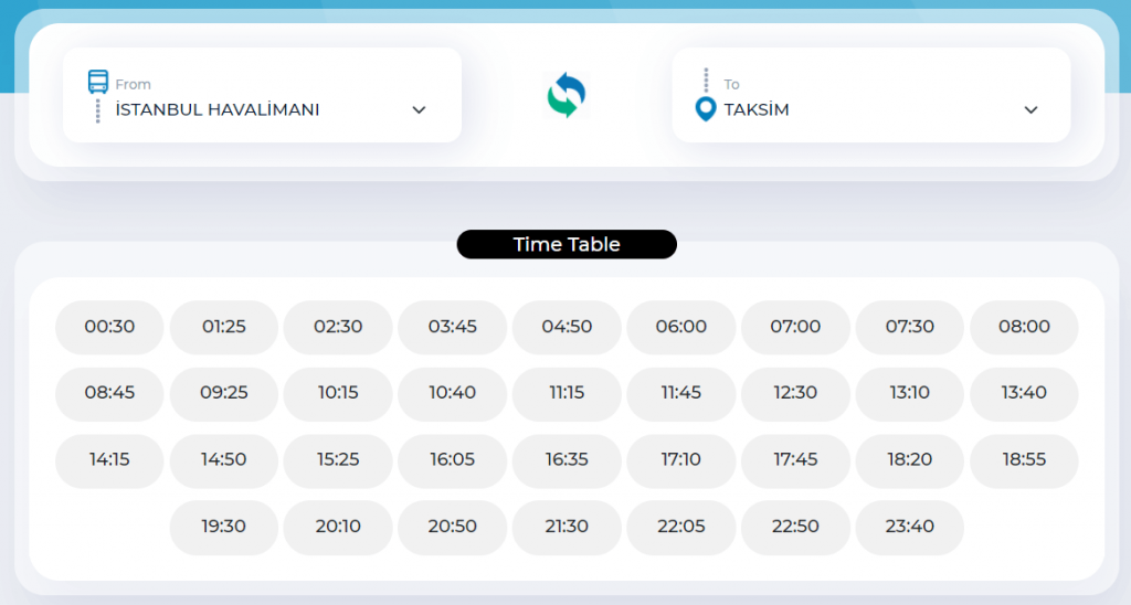 Расписание Таксим → İstanbul Airport  (Havaist's bus)