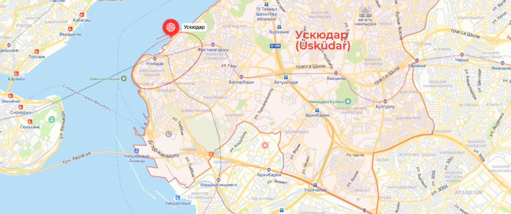 Район Ускюдар на карте Стамбула