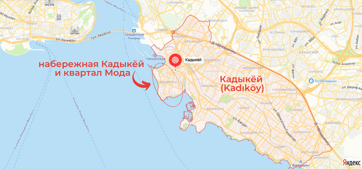 район Кадыкёй на карте Стамбула